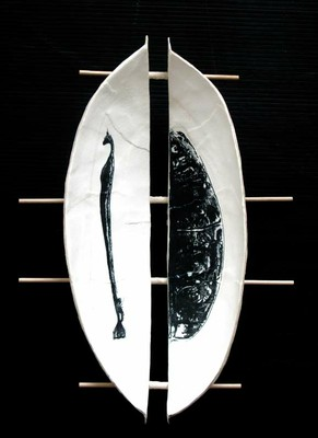 Sarkofag, grafikobjekt, ca 28 x 16 cm